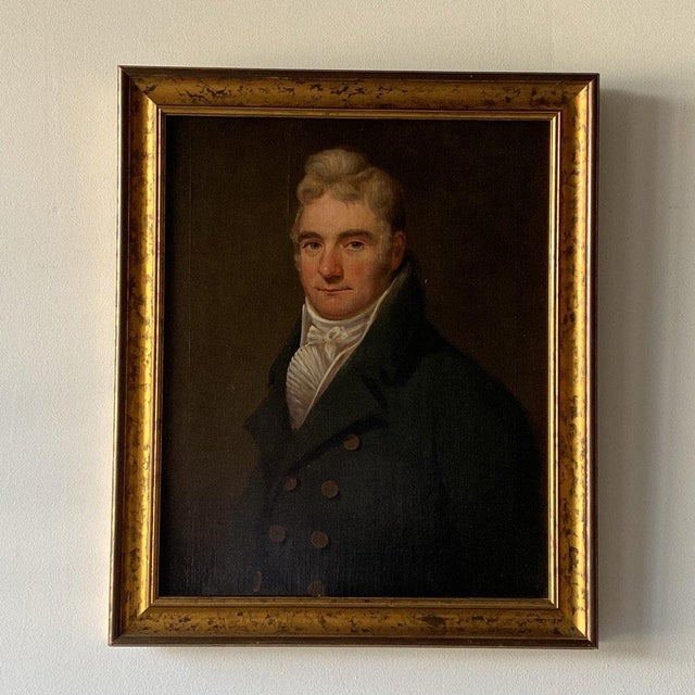 19th Century 19th Century British School Portrait of a Gentleman in a Cravat Oil Painting, Framed For Sale - Image 5 of 5