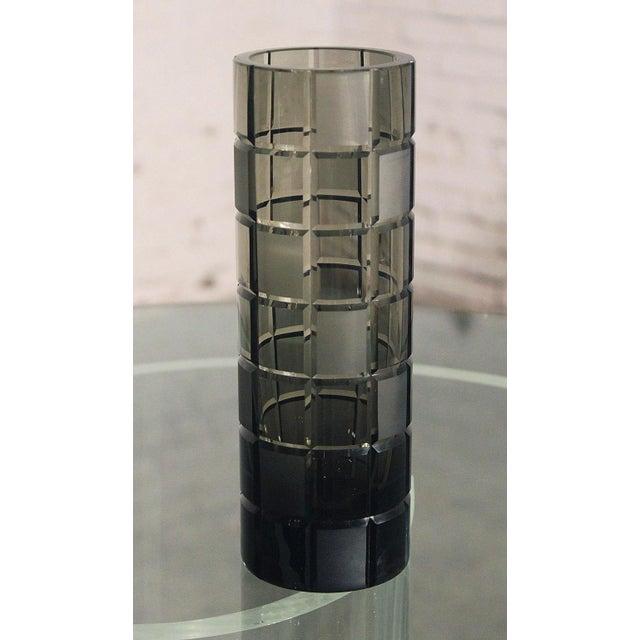 Smoke Grey Glass Vase, Orrefor Legend Square Style - Image 5 of 10