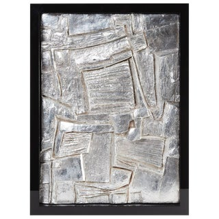 Mid-20th Century French Framed Abstract Plaster/Silver Leaf Sculpture #2 For Sale