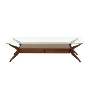 Free Form Walnut and Glass Cocktail Table For Sale