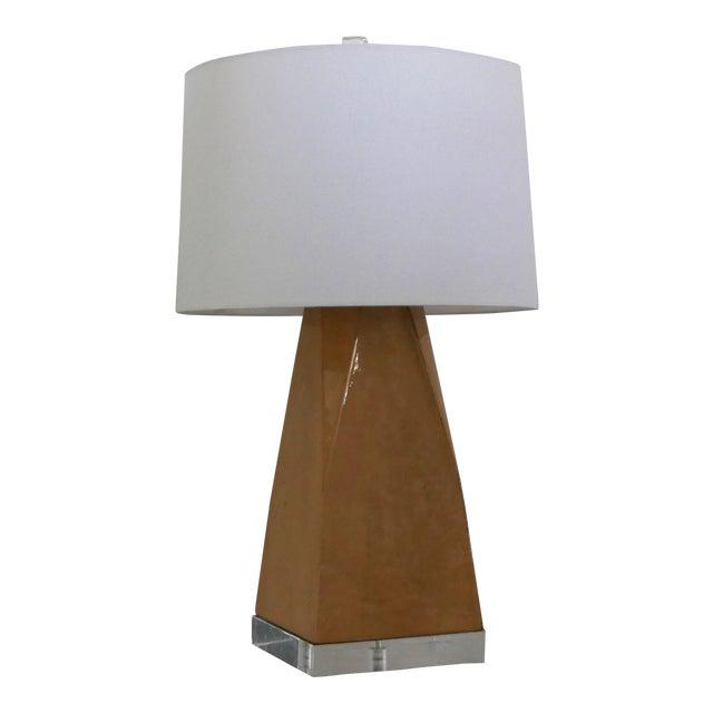 Karl Springer Style Vintage Goatskin Lamp For Sale
