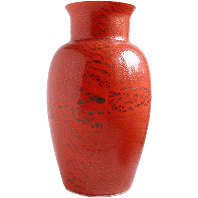 Red Murano Red Applied Heavy Silver Leaf Italian Art Glass Flower Vase For Sale - Image 8 of 8