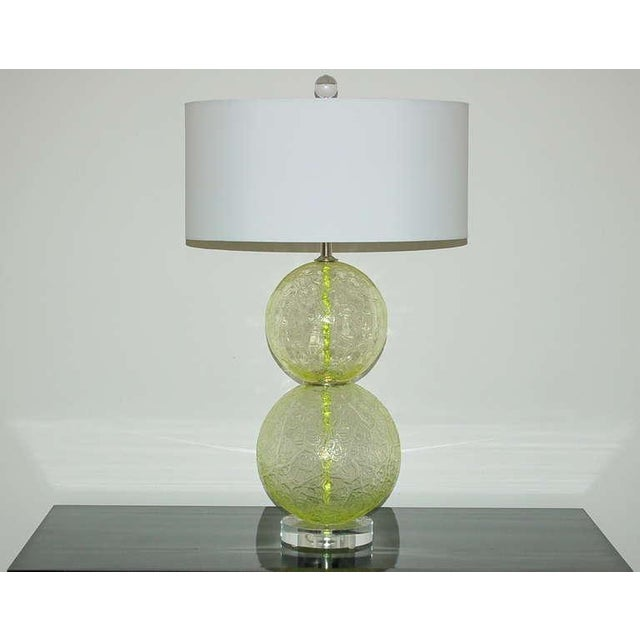 Classic vintage Venetian stacked ball glass lamps of LIME GREEN with nickel wafers at the waist. Great texture to the...