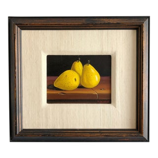 Trompe L'oeil 3 Pears Oil on Canvas Painting by Maryse Desmedt For Sale