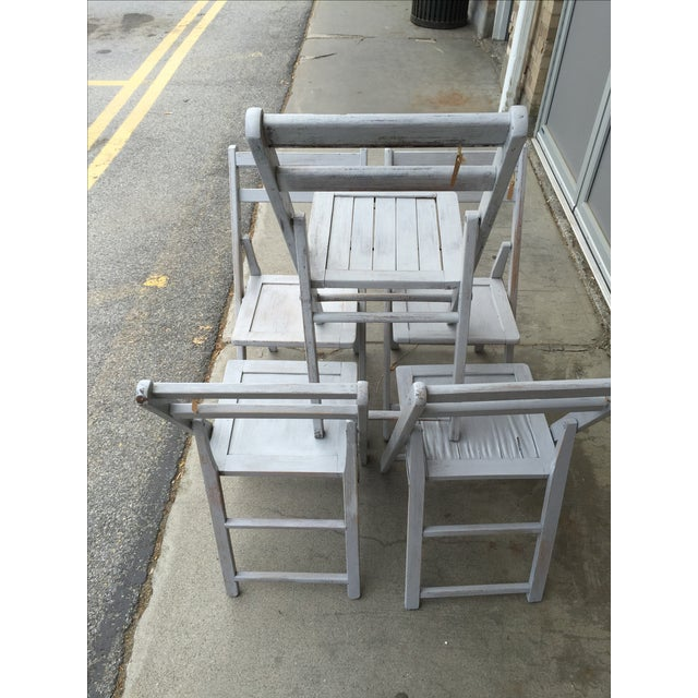 French Grey Folding Chairs - Set of 5 - Image 5 of 5