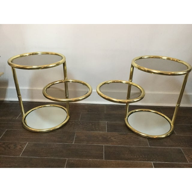 1970's Swivel Brass Side Tables - Image 2 of 11