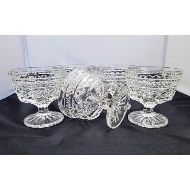 """Hollywood Regency Vintage Anchor Hocking Pressed Glass """"Wexford"""" Champagne Sherbert Goblet Glasses - Set of 5 For Sale - Image 3 of 4"""