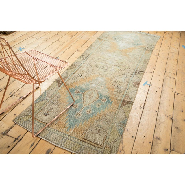 "Vintage Distressed Oushak Rug Runner - 3'2"" X 9'2"" - Image 3 of 11"