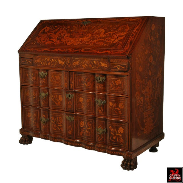 Baroque Fine Dutch Marquetry Drop Front Secretary / Desk For Sale - Image 3 of 13