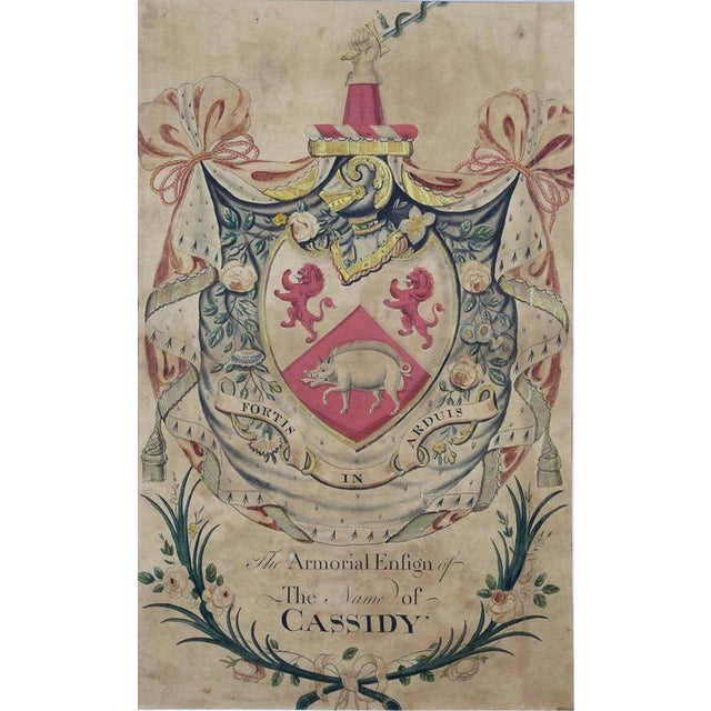 """Watercolor on paper """" The Armorial Ensign Of The Name Of Cassidy""""."""