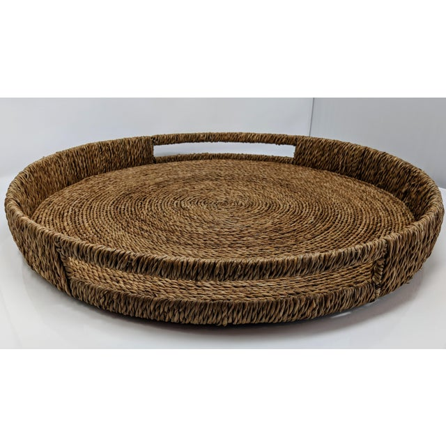 Straw Palecek Style Round Ottoman Tray For Sale - Image 7 of 13