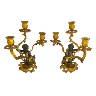 19th Century Louis XV Style Gilt and Patinated Bronze Cherub Candelabra - a Pair For Sale