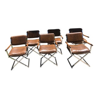 1960s Vintage Milo Baughman Chrome Directors Dining Chairs- Set of 6 For Sale