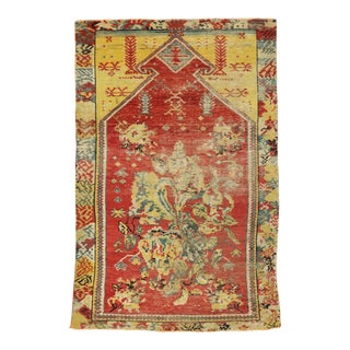 Distressed Antique Turkish Oushak Prayer Rug - 02'11 X 04'05 For Sale
