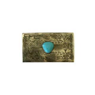 Turquoise & Silver Handmade Match Holder For Sale