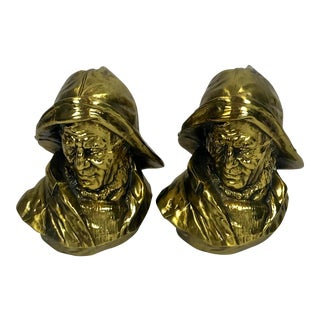 Pair of Vintage Brass Fisherman Bookends - P.M. Craftsman For Sale