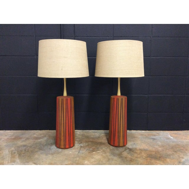 Mid-Century Ceramic Table Lamps - A Pair - Image 2 of 11
