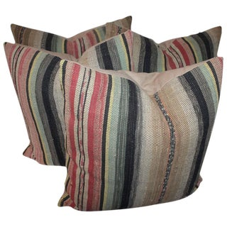 Pair of 19th Century Rag Rug Pillows For Sale
