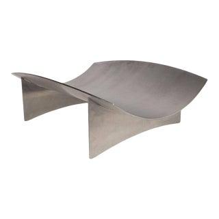 Sculptural Danish Mid-Century Modern Brushed Aluminum Log Holder For Sale