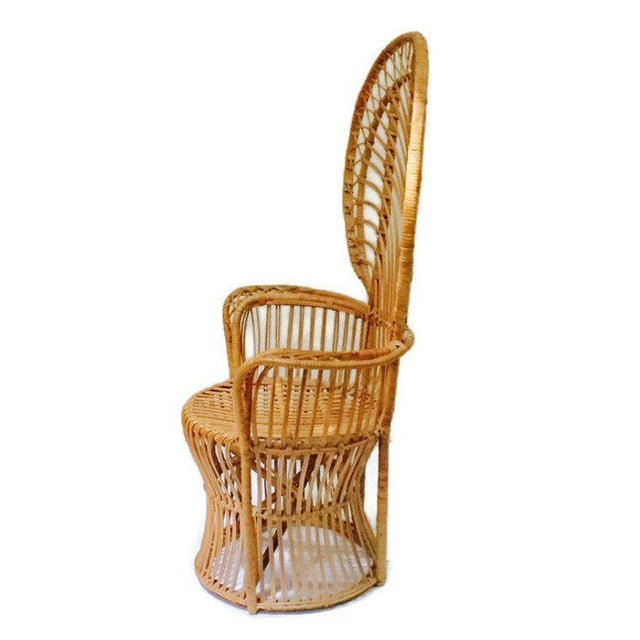 Brown Mid Century Franco Albini Style Peacock Chair Bent Bamboo Fan Back Chair For Sale - Image 8 of 11