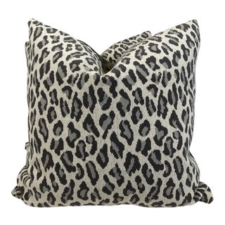 """Leopard Print Epingle in Taupe 22"""" Pillows-A Pair For Sale"""