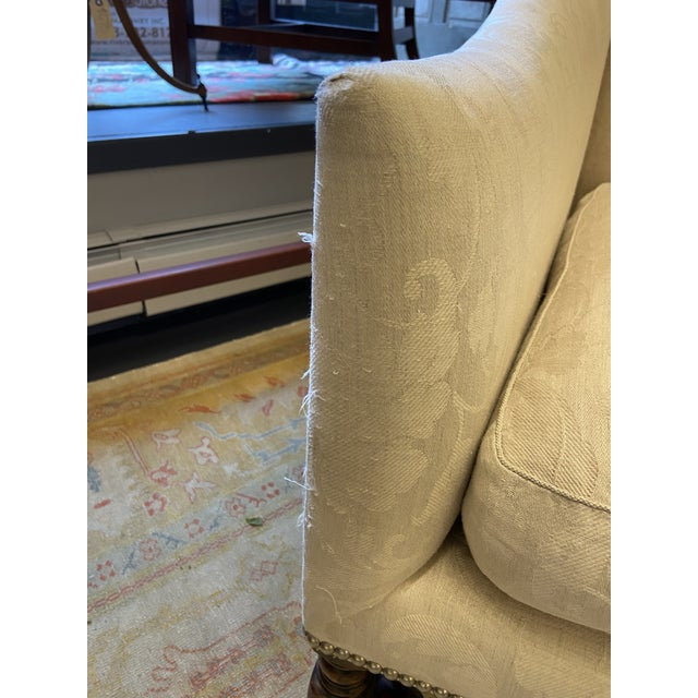 Wood Damask Fabric Chair With Down Cushion and Mahogany Frame For Sale - Image 7 of 12