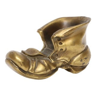 Vintage Solid Heavy Brass Boot Ashtray