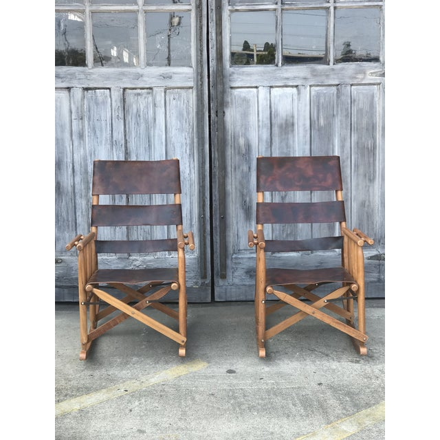 Vintage Leather Campaign Style Folding Leather Rockers from Costa Rica.