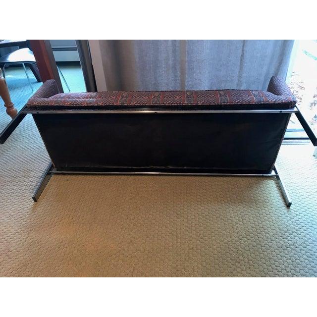 Vintage Chrome Upholstered Bench - Image 6 of 9