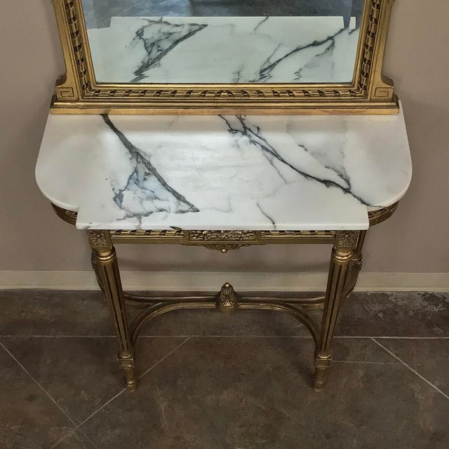 19th Century French Louis XVI Marble Top Giltwood Console With Mirror For Sale - Image 11 of 12