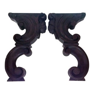 Antique Wooden Church Corbels - a Pair