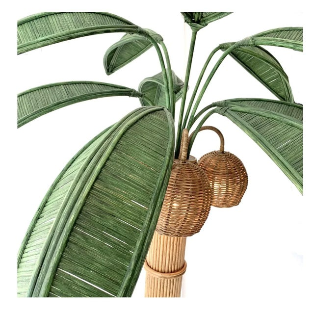 Vintage Mario Lopez Torres Rattan Wicker Palm Tree Lamp  For Sale - Image 11 of 13