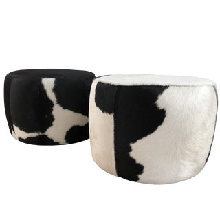 Vintage Pair of Cowhide Poufs or Ottomans For Sale