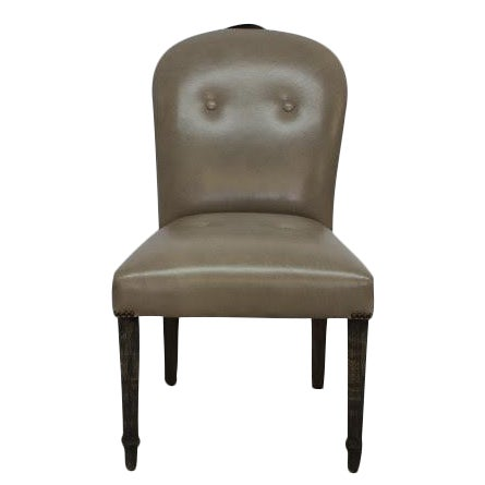 Gray Leather Dining Chairs - Set of 6 - Image 1 of 6