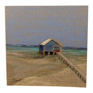 """Final Markdown Nancy Smith """"Blue House Over the Water"""" Original Colored Pencil Drawing For Sale"""