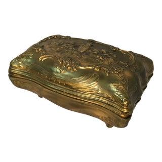 C. 1900 Art Nouveau Gilt Bronze Covered Box After Alexandre Vibert (1847-1909) For Sale