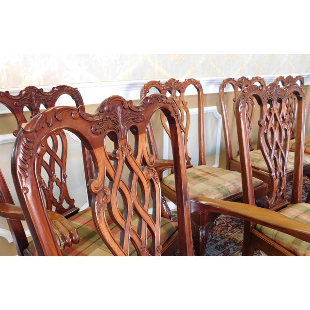 1990s Reproduction Solid Mahogany Chippendale Style Dining Chairs - Set of 10 For Sale - Image 10 of 11