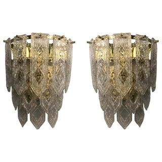 Venini Art Deco Geometric Pattern Sconces - a Pair For Sale
