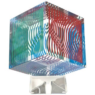 1970s Vintage Victor Vasarely Cube Op Art Silkscreen Acrylic Sculpture For Sale