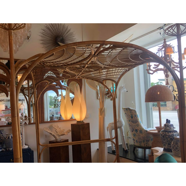 Vintage Tropical Boho Palm Beach Rattan Queen Size Canopy Bed For Sale - Image 11 of 13