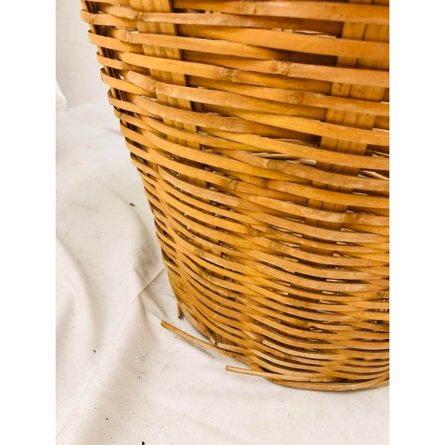 Vintage Natural Woven Wicker Laundry Basket For Sale In Raleigh - Image 6 of 9