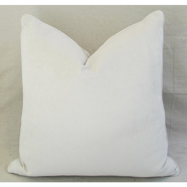 "White Boho Chic Bone White Crocodile Velvet Feather/Down Pillows 24"" Square - Pair For Sale - Image 8 of 12"