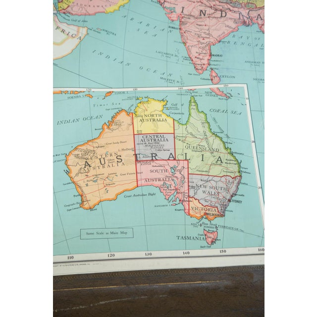 Antique Nystrom Pull Down Map of Asia & Australia For Sale - Image 5 of 9
