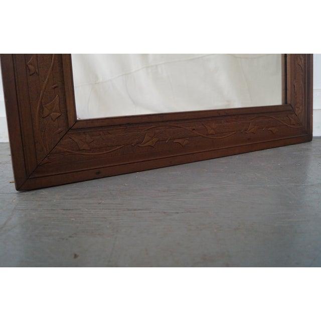 Vintage Incised Carved Vine Leaf Frame Wall Mirror - Image 9 of 10