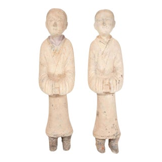 Chinese Han Dynasty Style Terracotta Attendant Figurines - a Pair For Sale