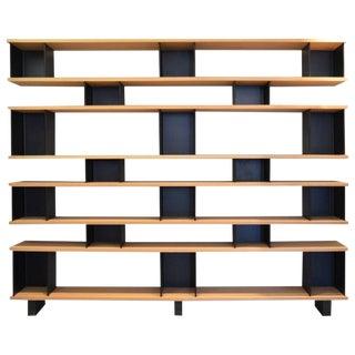 "Design Frères ""Horizontal"" Matte Black Steel and Oak Bookcase For Sale"