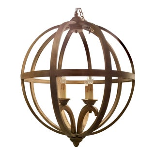 Currey & Co. Axel Orb Modern Wood Chandelier For Sale