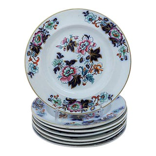 Antique Davenport Flow Blue Floral Plates - Set of 7 For Sale