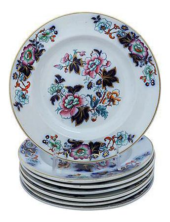 sc 1 st  Chairish & Antique Davenport Flow Blue Floral Plates - Set of 7 | Chairish