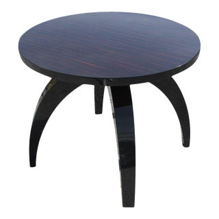 Monumental French Art Deco Exotic Macassar Ebony Round Center Table or Dining Table Circa 1940s